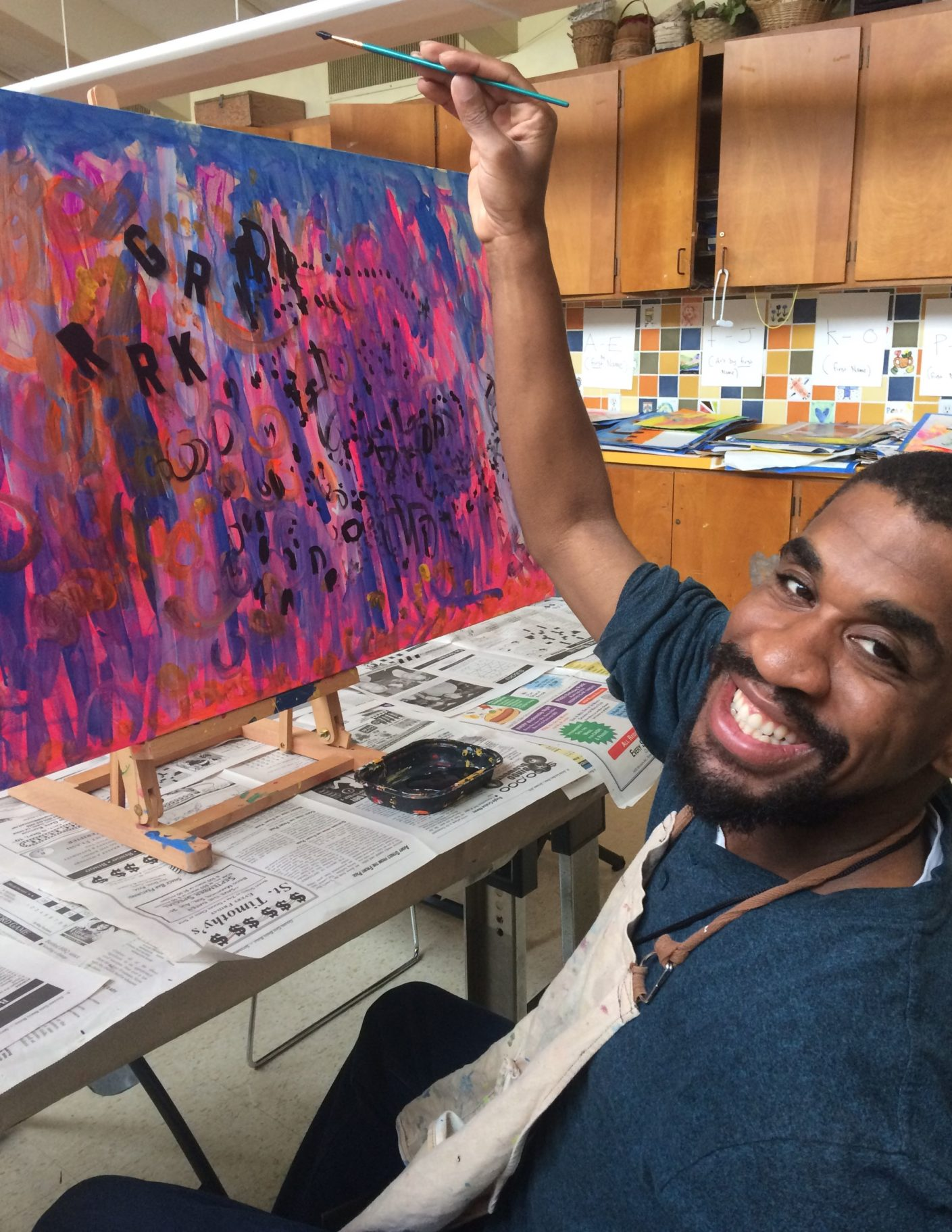 The joy of painting. Duane creating.