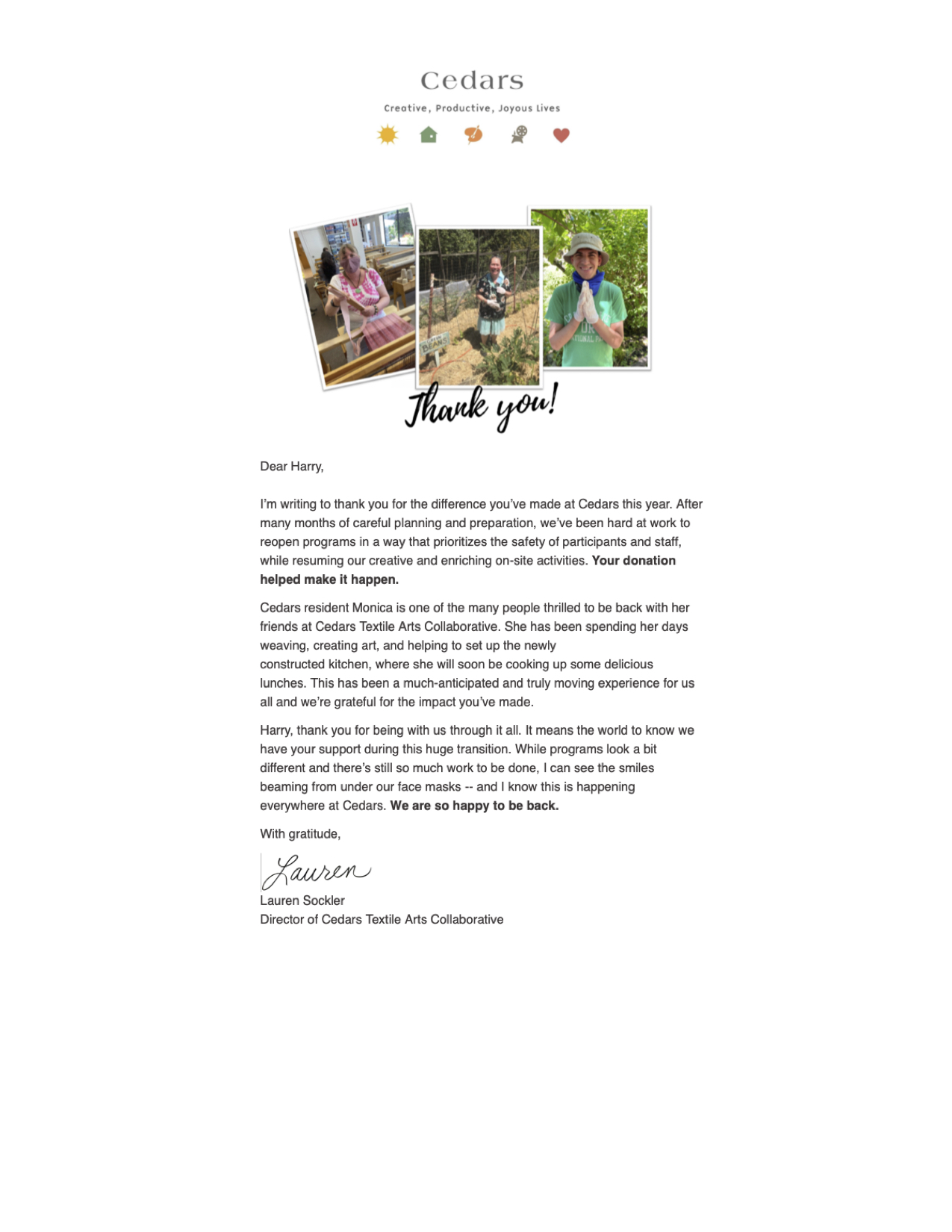 Thank you letter from Cedars